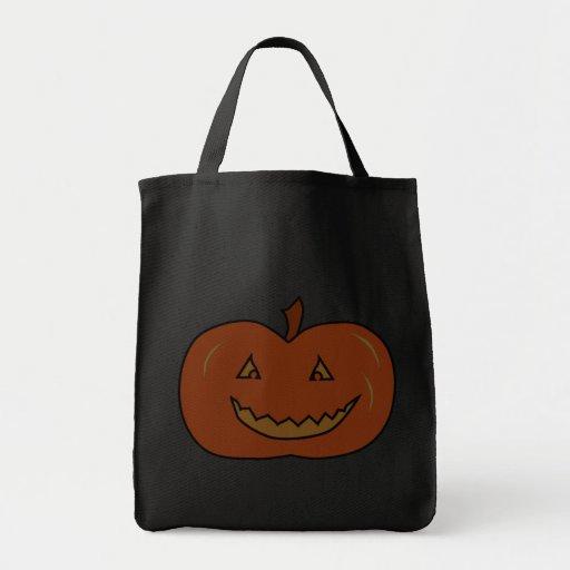 Happy Pumpkin. Dark Colors. Halloween. Grocery Tote Bag