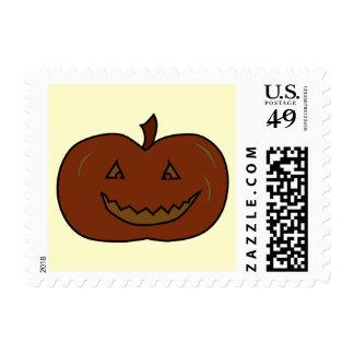 Happy Pumpkin. Dark Colors. Halloween. Postage Stamp