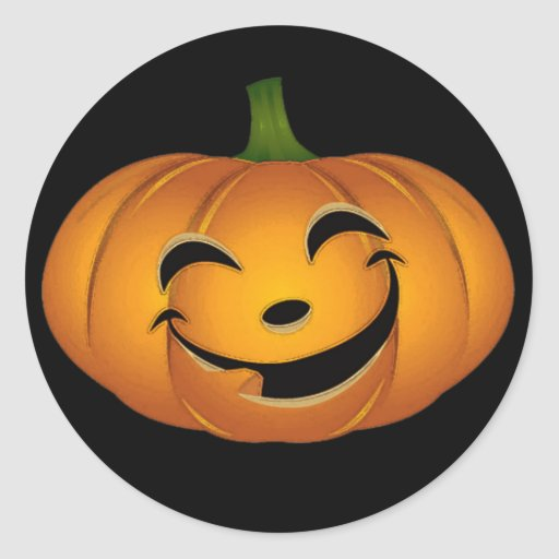 Happy Pumpkin Face for Halloween Fun Stickers