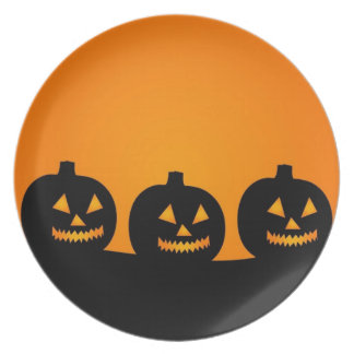 Happy Pumpkin Face Party Plate