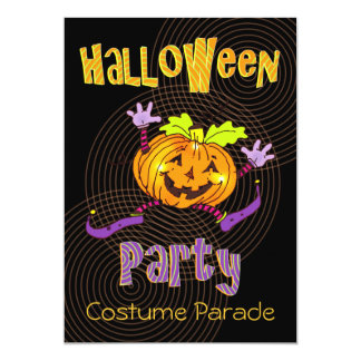 Happy Pumpkin Halloween Costume Party Card