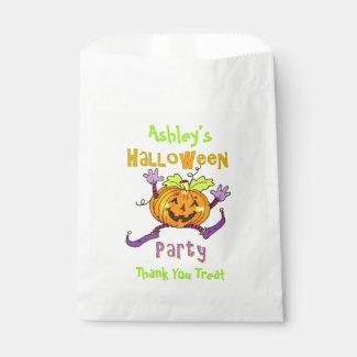 Happy Pumpkin Halloween Party Custom Name Favor Bag