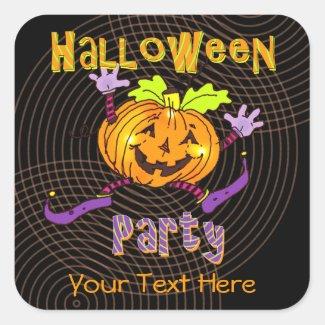 Happy Pumpkin Halloween Party Square Sticker