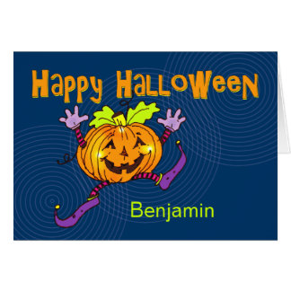 Happy Pumpkin Happy Halloween Custom Name Card