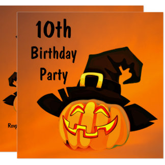 Happy Pumpkin In Witches Hat 10th Birthday Card