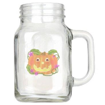 Happy Pumpkin mason jar with handle