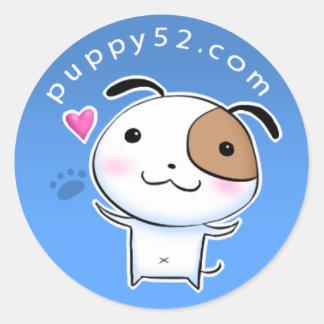 Happy Puppy52 in blue Classic Round Sticker