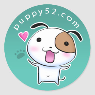 Happy Puppy52 in turquoise Classic Round Sticker
