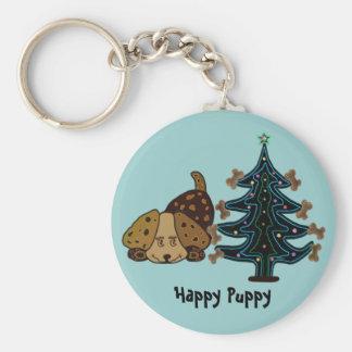 Happy Puppy Christmas Keychain