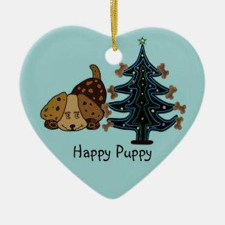 Happy Puppy Christmas Christmas Ornament