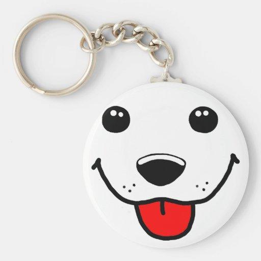 Happy Puppy Face Basic Round Button Keychain