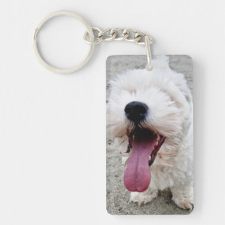 Happy Puppy white dog, malteese, maltipoo. Double-Sided Rectangular Acrylic Keychain
