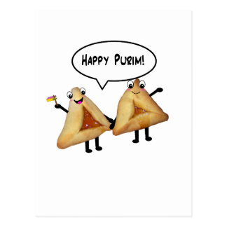Happy Purim - customizable background color Postcard