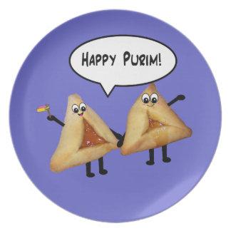 Happy Purim Cute Hamantashen plate - Purple