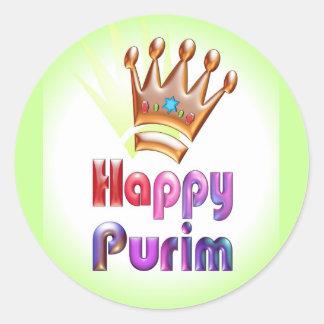 Happy Purim fun sticker Crown with Star of David