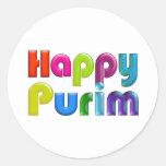 HAPPY PURIM funky Greeting Card Classic Round Sticker