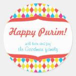 Happy Purim Gift Tag Classic Round Sticker