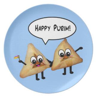 Happy Purim Hamantashen plate - Blue