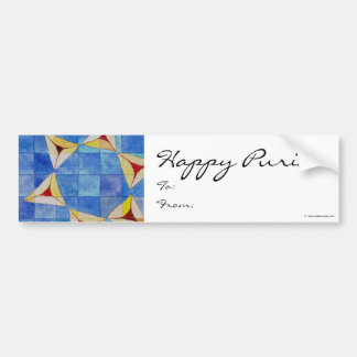 Happy Purim To/From Label Car Bumper Sticker