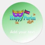 Happy Purim With Mask, Gragger, And Hamentaschen Classic Round Sticker at Zazzle