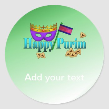 Happy Purim With Mask  Gragger  And Hamentaschen Classic Round Sticker by HolidayBug at Zazzle