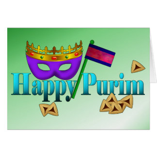 Happy Purim with Mask, Gragger, and Hamentaschen Greeting Card