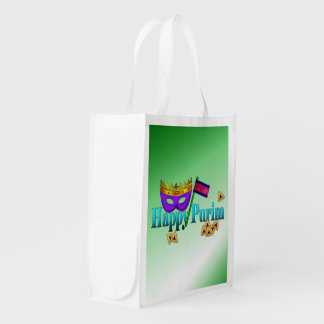 Happy Purim with Mask, Gragger, and Hamentaschen Reusable Grocery Bags
