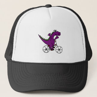 Happy Purple Dinosaur Riding Bicycle Trucker Hat