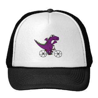 Happy Purple Dinosaur Riding Bicycle Trucker Hat