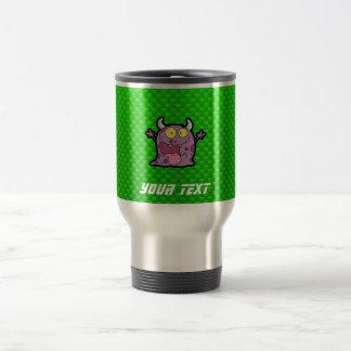 Happy Purple Monster; Green Travel Mug