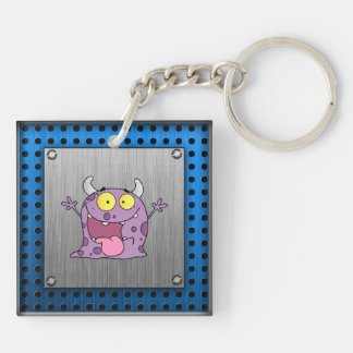 Happy Purple Monster; Metal-look Double-Sided Square Acrylic Keychain