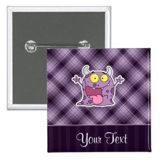 Happy Purple Monster; Purple Pinback Button