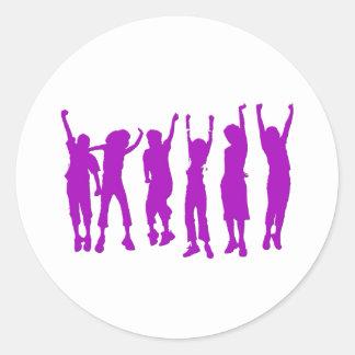 Happy Purple People Classic Round Sticker
