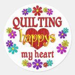 Happy Quilting Round Sticker