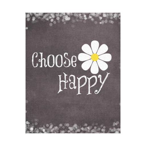 Happy Quote with Daisy Gallery Wrap Canvas