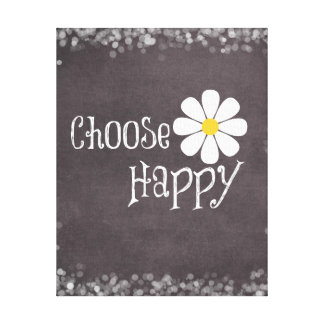 Happy Quote with Daisy Canvas Print
