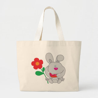 Happy Rabbit Holds Flower Smiling Bags
