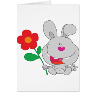 Happy Rabbit Holds Flower Smiling Greeting Card