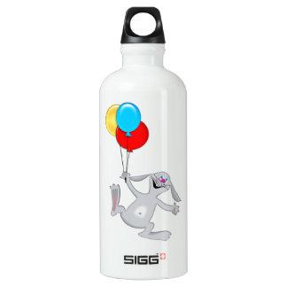 Happy Rabbit with Balloons Aluminum Water Bottle