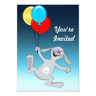 Happy Rabbit with Balloons Card