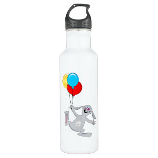 Happy Rabbit with Balloons Water Bottle