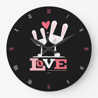Happy Rabbits in Love with Roman Numerals Large Clock