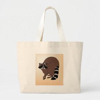 Happy Raccoon On Beige Background Canvas Bag