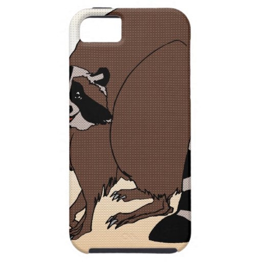 Happy Raccoon On Beige Background iPhone 5 Covers