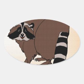 Happy Raccoon On Beige Background Oval Sticker