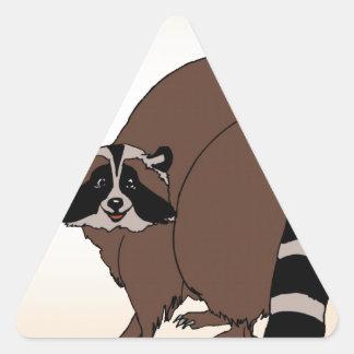 Happy Raccoon On Beige Background Triangle Sticker