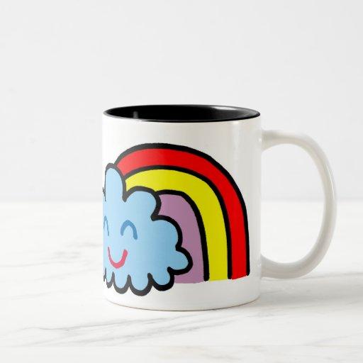 happy rainbow cloud coffee mugs