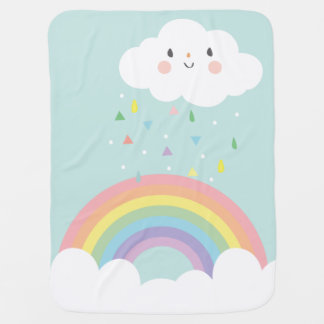 Happy Rainbow Cloud Modern Nursery Pastel Sky Swaddle Blanket