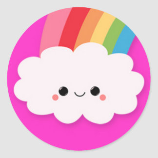 Happy Rainbow Cloud on Hot Pink Classic Round Sticker