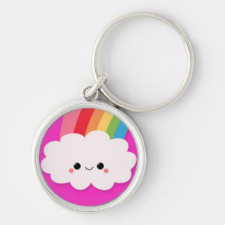Happy Rainbow Cloud on Hot Pink Silver-Colored Round Keychain